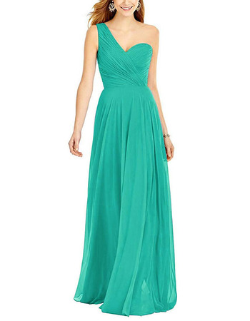 Elegant A-Line One Shoulder Floor Length Chiffon Bridesmaid Dresses