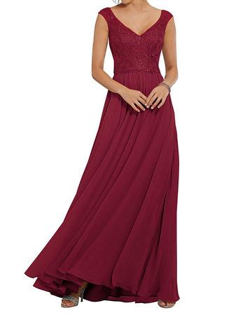 2020 A-Line V-Neck Floor Length Chiffon Embroidery Bridesmaid Dresses