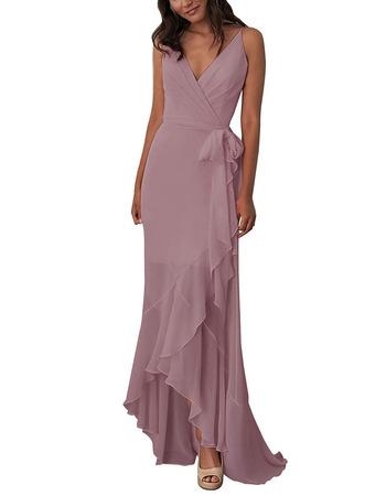 Custom V-Neck Spaghetti Straps High-Low Chiffon Bridesmaid Dresses