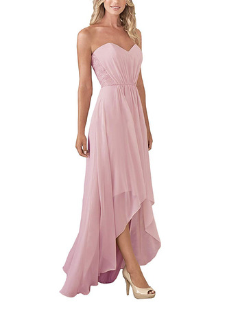 Elegant A-Line Sweetheart High-Low Long Chiffon Bridesmaid Dresses