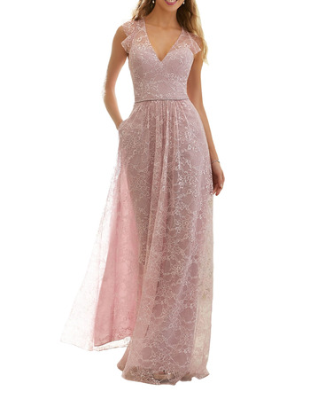 Elegant Lace V-Neck Floor Length Bridesmaid/ Evening/ Prom Dresses