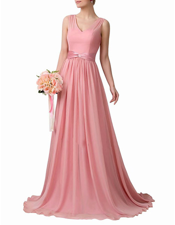 Custom V-Neck Floor Length Chiffon Bridesmaid Dresses with Sashes