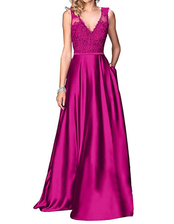 Discount A-Line V-Neck Floor Length Satin Applique Bridesmaid Dresses