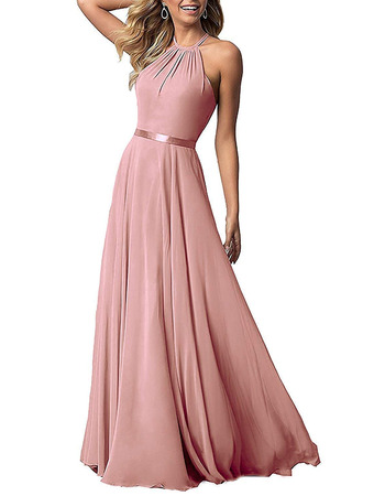 Elegant Halter Floor Length Chiffon Bridesmaid/ Evening Dresses