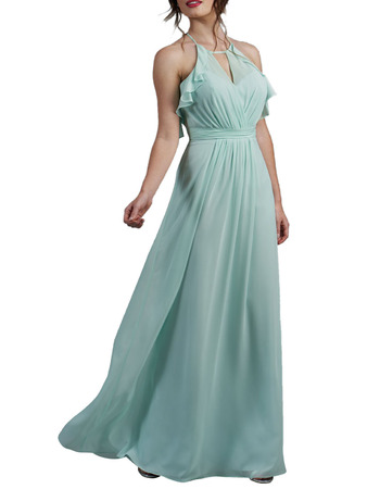 2020 New Halter Floor Length Chiffon Backless Bridesmaid Dresses