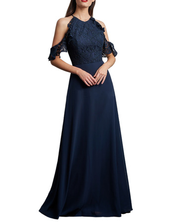 2020 Cold Shoulder Floor Length Chiffon Lace Bridesmaid Dresses