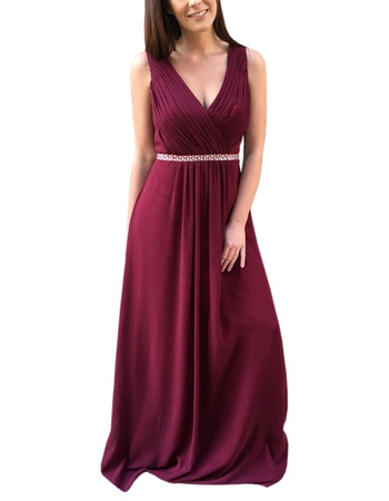 2020 New Style V-Neck Floor Length Chiffon Bridesmaid Dresses