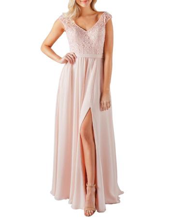 Custom V-Neck Floor Length Chiffon Lace Bridesmaid Dress with Slit