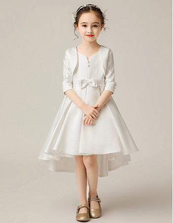 Adorable High-Low Knee Length Flower Girl Dresses with Jackets