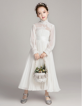 2020 New Style Chiffon Pleated Flower Girl Dresses with Long Sleeves