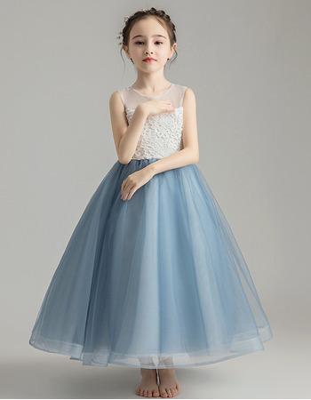 Custom A-Line Sleeveless Tea Length Organza Little Girls Party Dresses