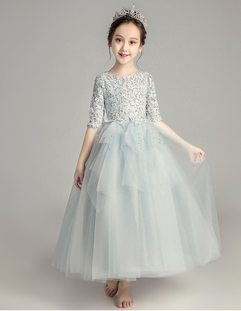 Inexpensive A-Line Lace Little Girls Party Dresses with Half Sleeves