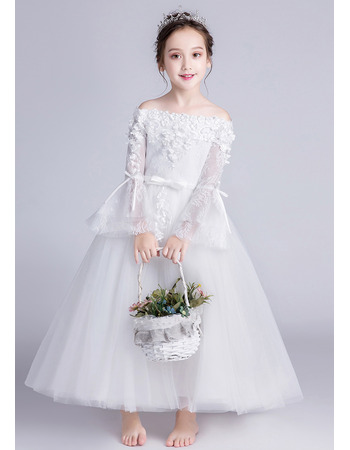 Stunning Off-the-shoulder Long Flower Girl Dresses with Long Sleeves