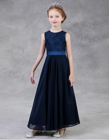 2020 Style A-Line Long Lace Chiffon Little Girls Party Dresses