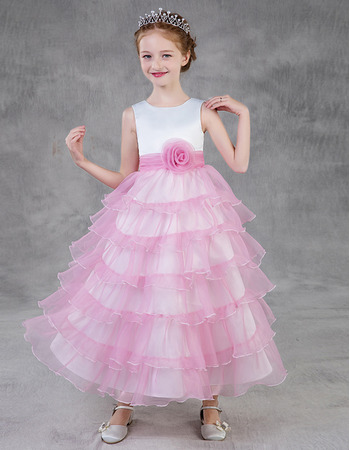 Custom Tea Length Layered Skirt Satin Tulle Little Girls Party Dresses