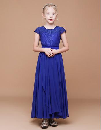Adorable A-Line Short Sleeves Ankle Length Chiffon Flower Girl Dresses