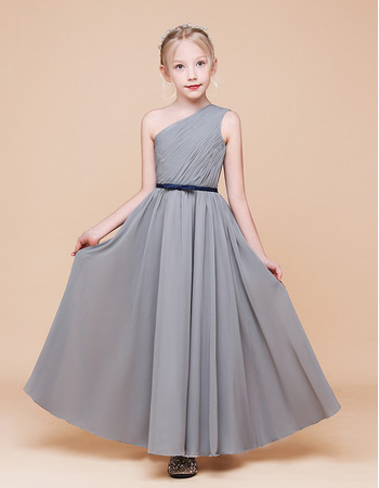 2020 New A-Line One Shoulder Ankle Length Chiffon Flower Girl Dresses