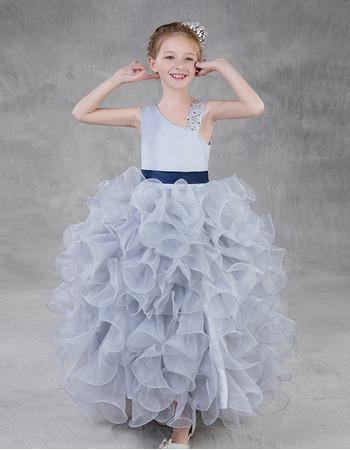 Discount Floor Length Ruffle Skirt Little Girls Party Dress with Belt