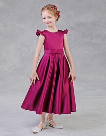 Adorable A-Line Sleeveless Tea Length Satin Flower Girl Dresses