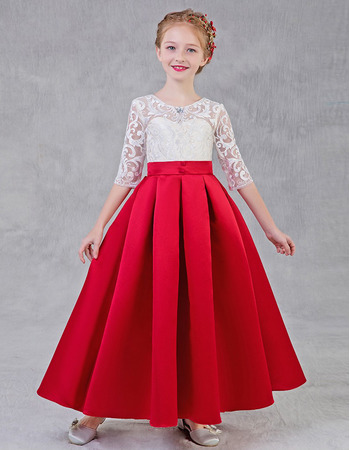 2020 A-Line Long Lace Satin Flower Girl Dresses with Half Sleeves