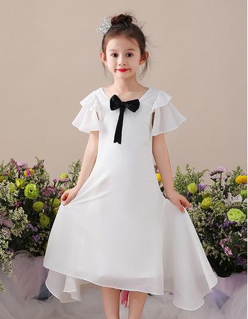Custom Tea Length Chiffon Flower Girl Dresses with Short Sleeves