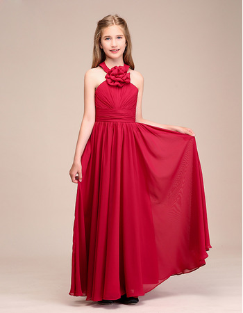 Custom Long Chiffon Flower Girl Dresses/ Junior Bridesmaid Dresses