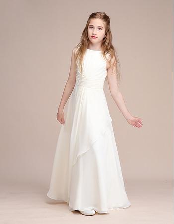2020 Long Chiffon Flower Girl Dresses/ Junior Bridesmaid Dresses