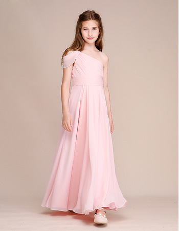 Custom One Shoulder Chiffon Flower Girl/ Junior Bridesmaid Dresses