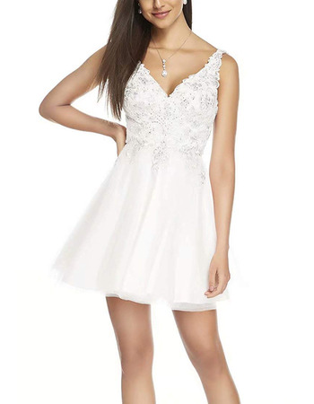 Fashionable A-Line V-Neck Short Lacing Homecoming/ Graduation Dresses