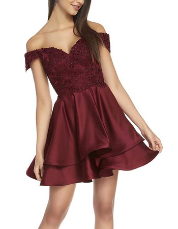 Affordable Off-the-shoulder Short Satin Lacing Homecoming Dresses