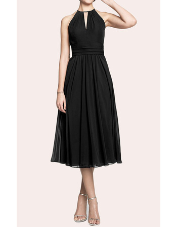 2019 Style A-Line Halter Tea Length Chiffon Black Homecoming Dresses