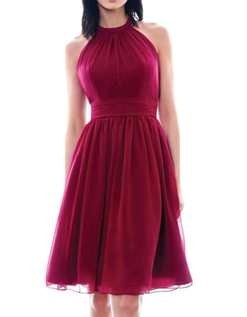Sexy Halter Knee Length Short Chiffon Homecoming/ Prom Dresses