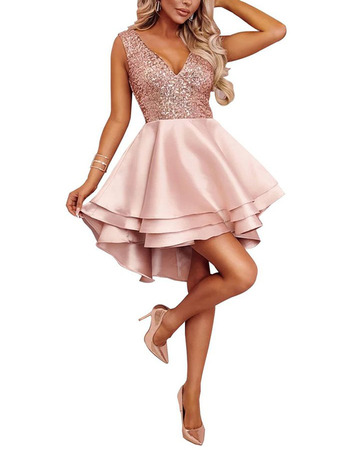 Custom A-Line V-Neck High-Low Short Satin Beading Homecoming Dresses