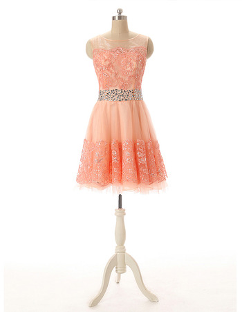 Affordable A-Line Short Tulle Applique Beading Homecoming Dresses