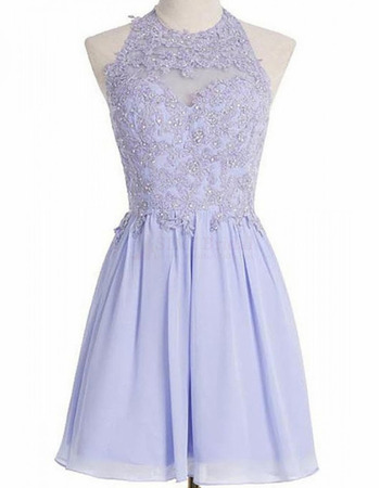 Glamour Beaded Appliques Bodice Open Back Chiffon Short Homecoming Dresses