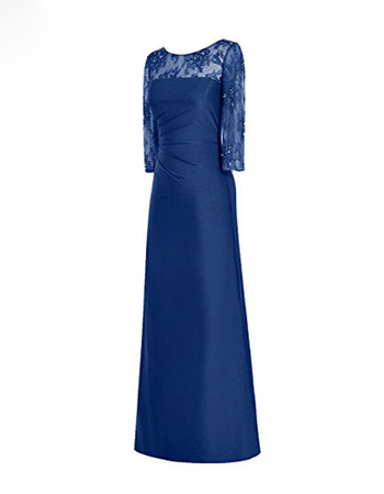 2020 New Floor Length Satin Mother Dresses with 3/4 Long Sleeves