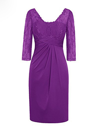 Discount V-Neck Short Satin Lace Mother Dresses with 3/4 Long Sleeves