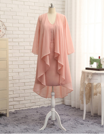 Elegant Column V-Neck Short Chiffon Mother Dresses with Jackets