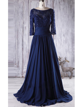 Affordable A-Line Long Chiffon Mother Dresses with 3/4 Long Sleeves
