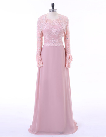 Affordable Floor Length Lace Chiffon Mother Dresses with Lace Jackets