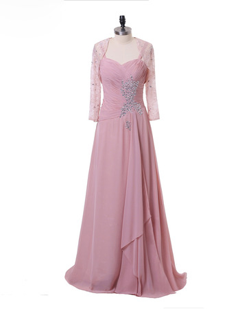 Custom Spaghetti Straps Floor Length Chiffon Mother Dress with Jackets