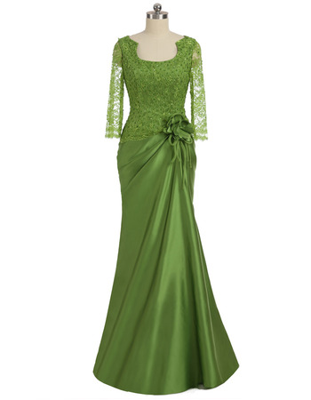 Discount Sheath Floor Length Satin Mother Dresses with Lace Sleeves