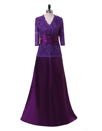 2020 New Floor Length Lace Chiffon Mother Dress with 3/4 Long Sleeves