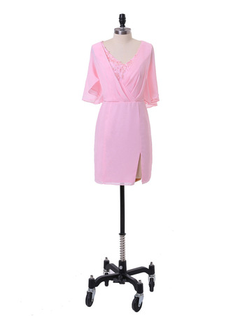 Elegant Column V-Neck Short Chiffon Mother Dress with Short Sleeves
