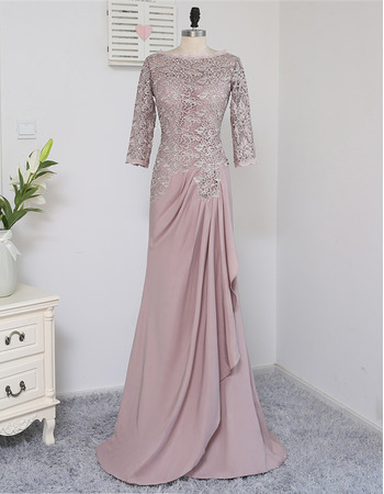 Elegant A-Line Long Chiffon Lace Mother Dresses with 3/4 Long Sleeves