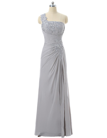 Discount A-Line One Shoulder Floor Length Chiffon Mother Dresses