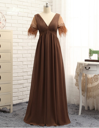 2020 New V-Neck Long Chiffon Mother Dresses with Short Sleeves