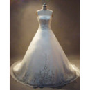 Vintage Elegant A-Line Strapless Court train Satin Wedding Dress/ Bridal Gown