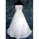 New Style Stunning and Graceful A-Line Strapless Court train Satin Beading with Embroider Dress for Bride/Bridal Gown