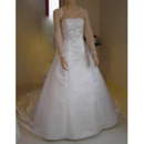 New Style Embroidered Sleeve Popular and Elegant A-Line Square Court train Satin Beading Dress for Bride/Bridal Gown